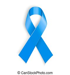 Blue ribbon. Peace, dysautonomia and other awareness symbol. Vector illustration