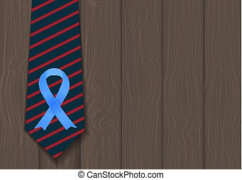 Blue Ribbon Symbol of World Prostate Cancer Awareness Day Concept. Men Healthcare Concept. Vector Illustratio