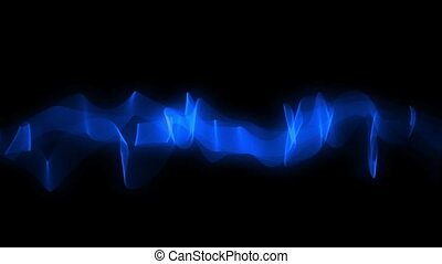 Blue Ribbon Wavy Motion - Blue stream slowly flow on black...