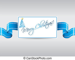 Blue ribbon with christmas card