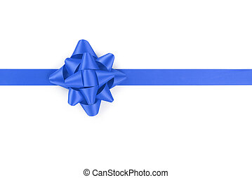 blue ribbon with gift bow isolated on white