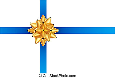 Blue ribbon with golden bow