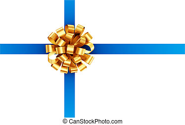 Blue ribbon with golden bow.