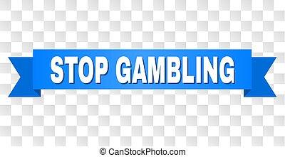 Blue Ribbon with STOP GAMBLING Text
