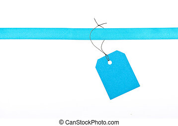 Blue ribbon with tag
