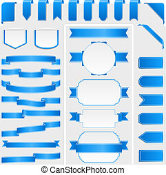 Blue Ribbons and Banners - Collection of different blue...