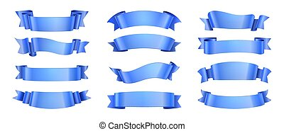 Blue ribbons. Realistic ribbon collection isolated. Vector elegance wave decoration elements with scroll shape for celebration label banner design