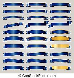 Blue ribbons set vector