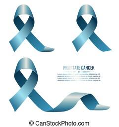 Blue ribbons symbolizing prostate cancer. Vector...