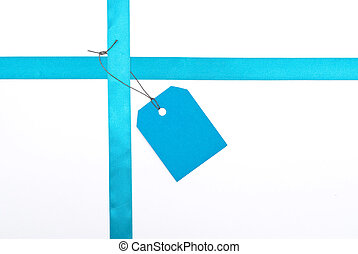 Blue ribbons with tag