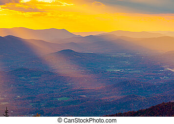 Blue Ridge Mountains at Sunset in North Georgia