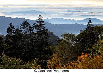 blue ridge mountains in morning