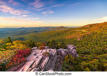 Blue Ridge Mountains landscape at Linn Cove Viaduct and Grandfather Mountain
