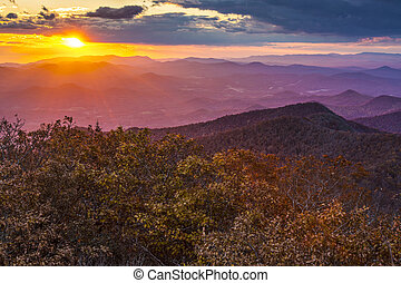 Blue Ridge Mountains at sunset in north Georgia, USA.