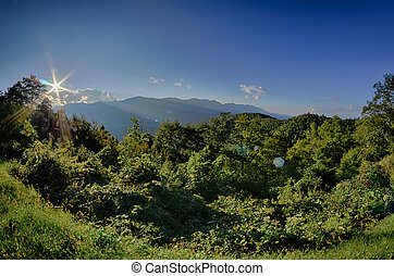 Blue Ridge Parkway National Park Sunset Scenic Mountains...