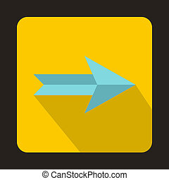 Blue right arrow icon, flat style
