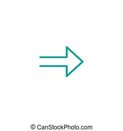 blue right sharp arrow. Line icon isolated on white. Continue icon.