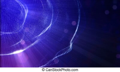 blue rings, microcosm or space. Seamless footage with beautiful light effects. 3d loop abstract animation of glow particles with depth of field, bokeh and light rays as vj loop. 3