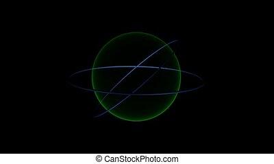 Blue Rings Rotate Around Green Circle