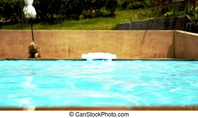Blue Ripped Water in Swimming Pool. Slow Motion.