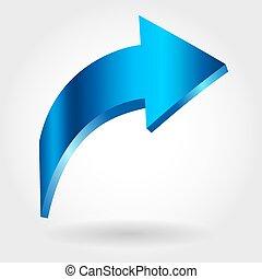 Blue rising arrow. Growing business concept. 3d illustration