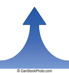 Blue Rising Arrow on White Background. Vector