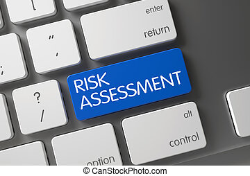 Blue Risk Assessment Key on Keyboard. 3D.