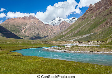 Blue river and snow peaks of Tien Shan mountains, Kirgizia