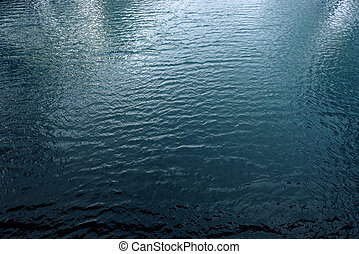 Blue river water surface, aerial view