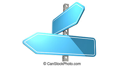 Blue road sign isolated on white background