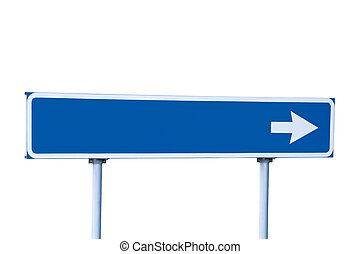Blue Road Sign Isolated on White