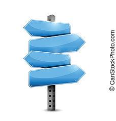 blue road signs illustration design