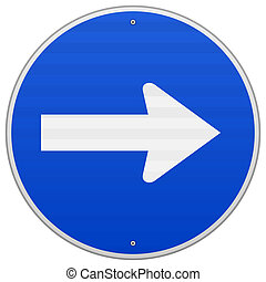 Direction to right as a white arrow on blue sign