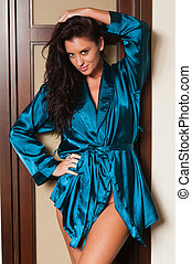 Blue robe - Beautiful tall brunette dressed in a blue robe