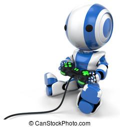 Blue Robot Holding Video Game Controller - A blue robot...