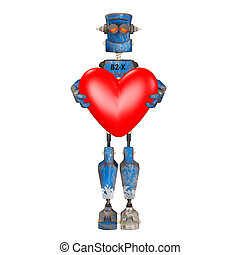 Blue Robot in Love