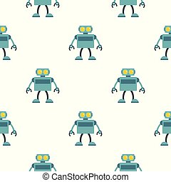Blue robot pattern seamless