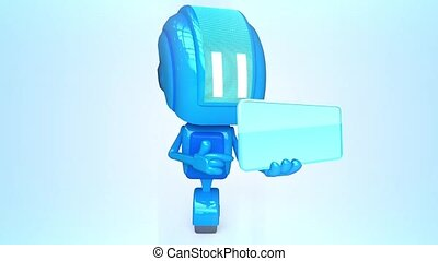 Blue robot with business box