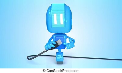 Blue robot with usb cabel - 3D loop animation of blue robot...