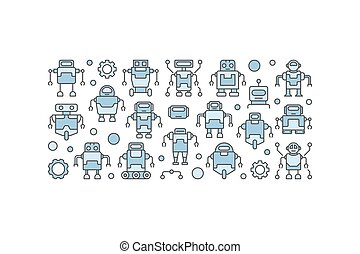 Blue robots concept vector illustration on white background