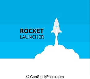 Blue rocket and white cloud, icon in flat style, vector illustration