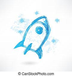 Blue rocket grunge icon
