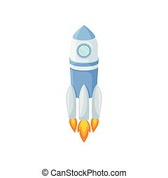 Blue rocket takes off with fire. Vector illustration.