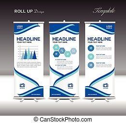 Blue Roll Up Banner template and info graphics elements,...