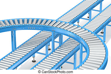 Blue Roller Conveyor System.