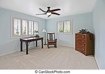 Blue room - Lightly staged blue room in a home for sale near...