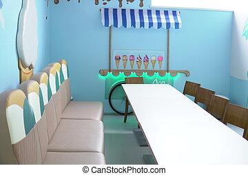 blue room table with ice cream