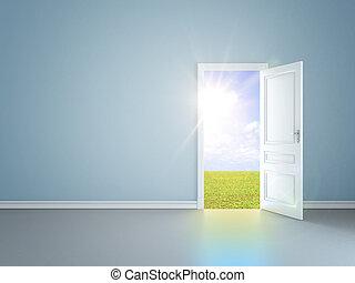 door in field