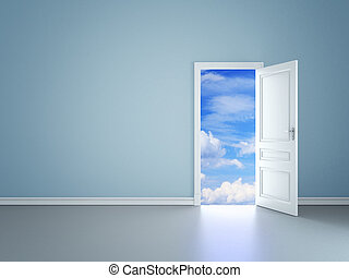 open door in sky - blue room with an open door in sky