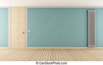 Blue room with modern radiator - Blue empty room with door...